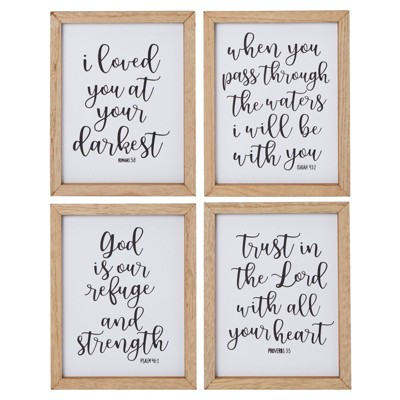 Faithful Finds 4 Pieces Christian Home Wall Decor with Bible Verses (8 x 10 Inches)