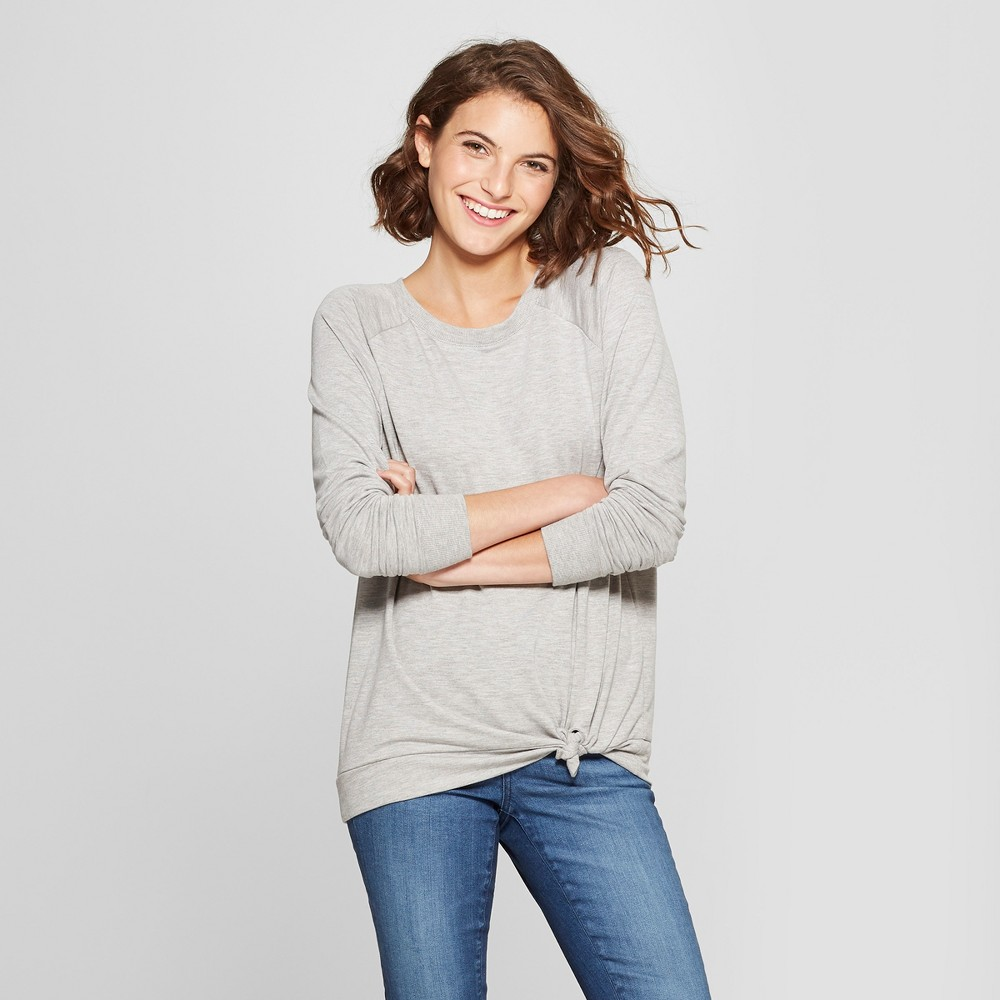 Women's Long Sleeve Side Tie Pullover - Grayson Threads (Juniors') Heather Gray S
