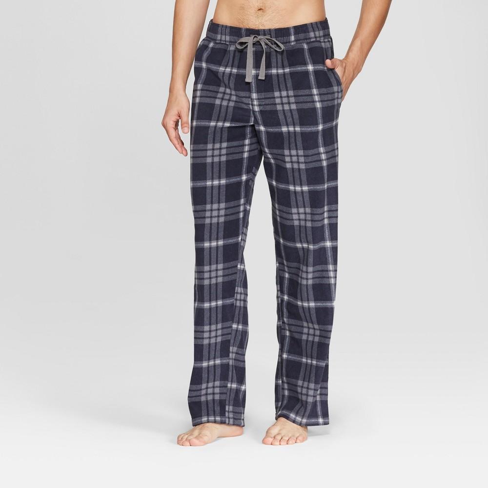 Men's Micro Fleece Pajama Pants - Goodfellow & Co Navy (Blue) Plaid XL