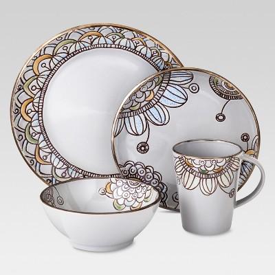 Vermillion Stoneware 16pc Dinnerware Set Floral Designs Gray - Threshold™