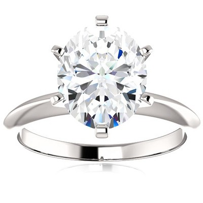 Pompeii3 2 Ct Oval Moissanite Solitaire Engagement Ring 14k White Gold