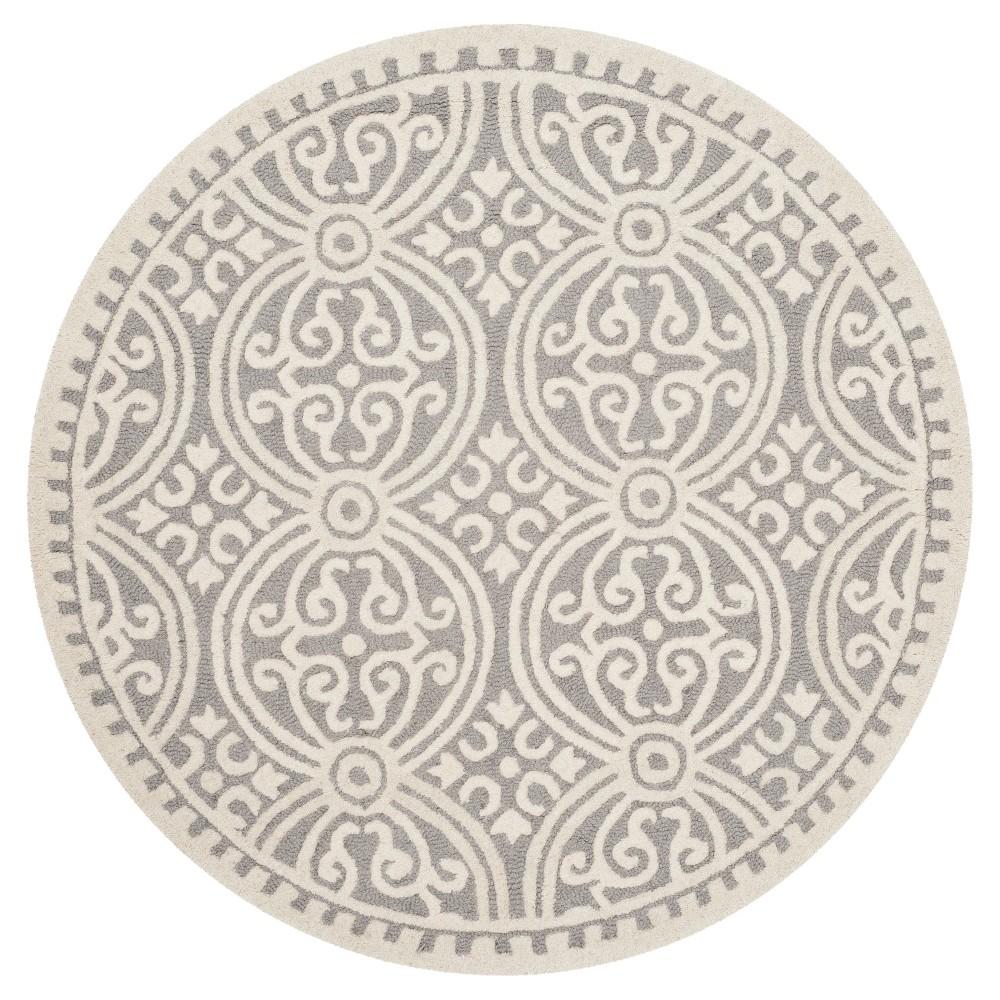 Image of 10' Geometric Area Rug Silver/Ivory - Safavieh, Size: 10' ROUND