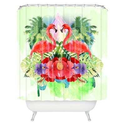 Exotic Flamingo Shower Curtain Pink/Green - Deny Designs