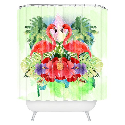 Exotic Flamingo Shower Curtain Pink Green