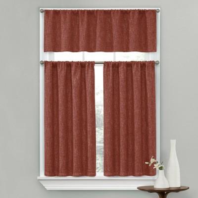 Kate Aurora Complete Textured 3 Piece Cafe Kitchen Curtain Tier & Valance Set