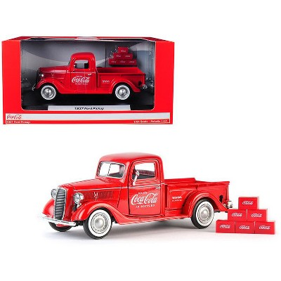 """1937 Ford Pickup Truck """"Coca-Cola"""" Red with 6 Bottle Carton Accessories 1/24 Diecast Model Car by Motorcity Classics"""