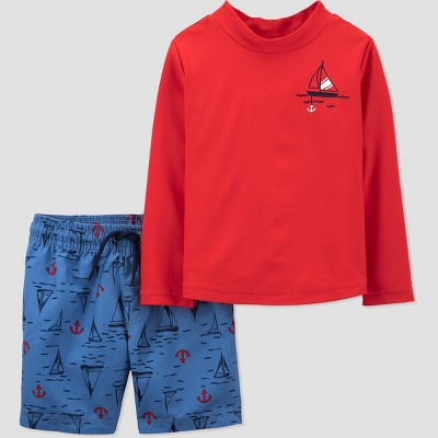 Toddler Boys' Sailboat Long Sleeve Rash Guard Set - Just One You® made by carter's Red