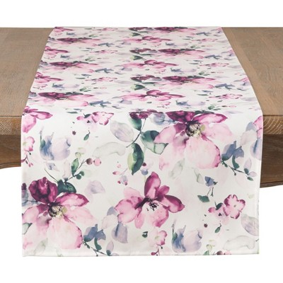 Saro Lifestyle 72 X16  Painted Bouquet Tablecloths Pink / White