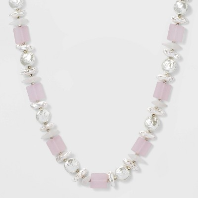 Rhodium and Pearl Bead Station Necklace - A New Day™ Silver