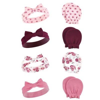 Hudson Baby Infant Girl Cotton Headband and Scratch Mitten Set, Rose, 0-6 Months