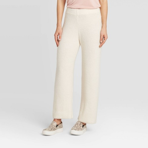 Women's Mid-Rise Wide Leg Ankle Length Pants - A New Day™ Cream - image 1 of 3