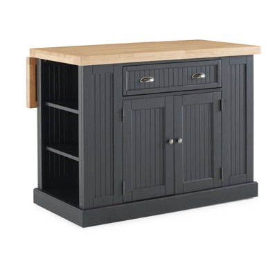 Nantucket Solid Wood Top Kitchen Island Black - Home Styles