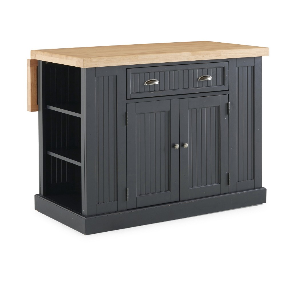 Nantucket 5033-94N Solid Wood Top Kitchen Island Black Home Styles