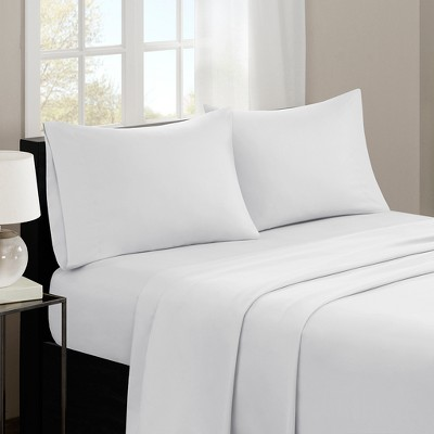 Queen 3M Microcell All Season Moisture Wicking Lightweight Sheet Set White