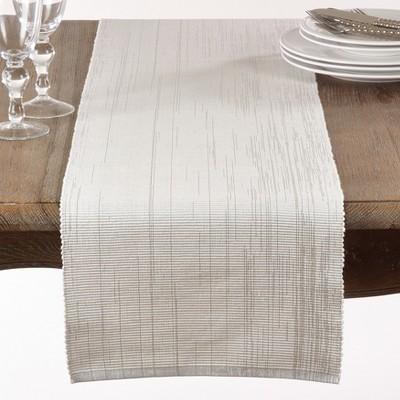 72  x13   Shimmering Design Ribbed Runner White - Saro Lifestyle