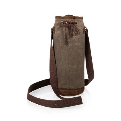 Picnic Time 10qt Waxed Canvas Wine Bottle Carrier Green