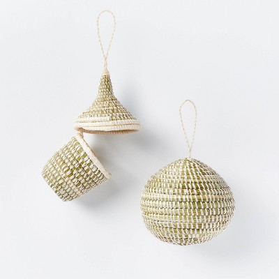 Set of 2 Artisan Woven Ornaments Exposed Sisal Black - Threshold™ designed with Studio McGee