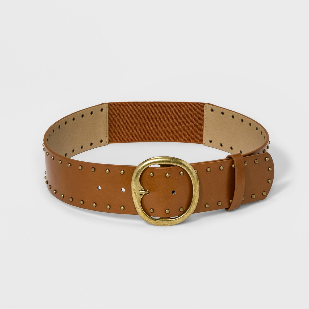 Women's Casual Stud Stretch Belt - Universal Thread Brown S