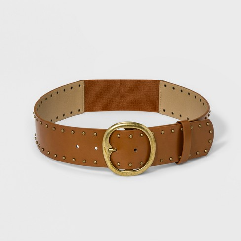 Women's Casual Stud Stretch Belt - Universal Thread™ Brown - image 1 of 2