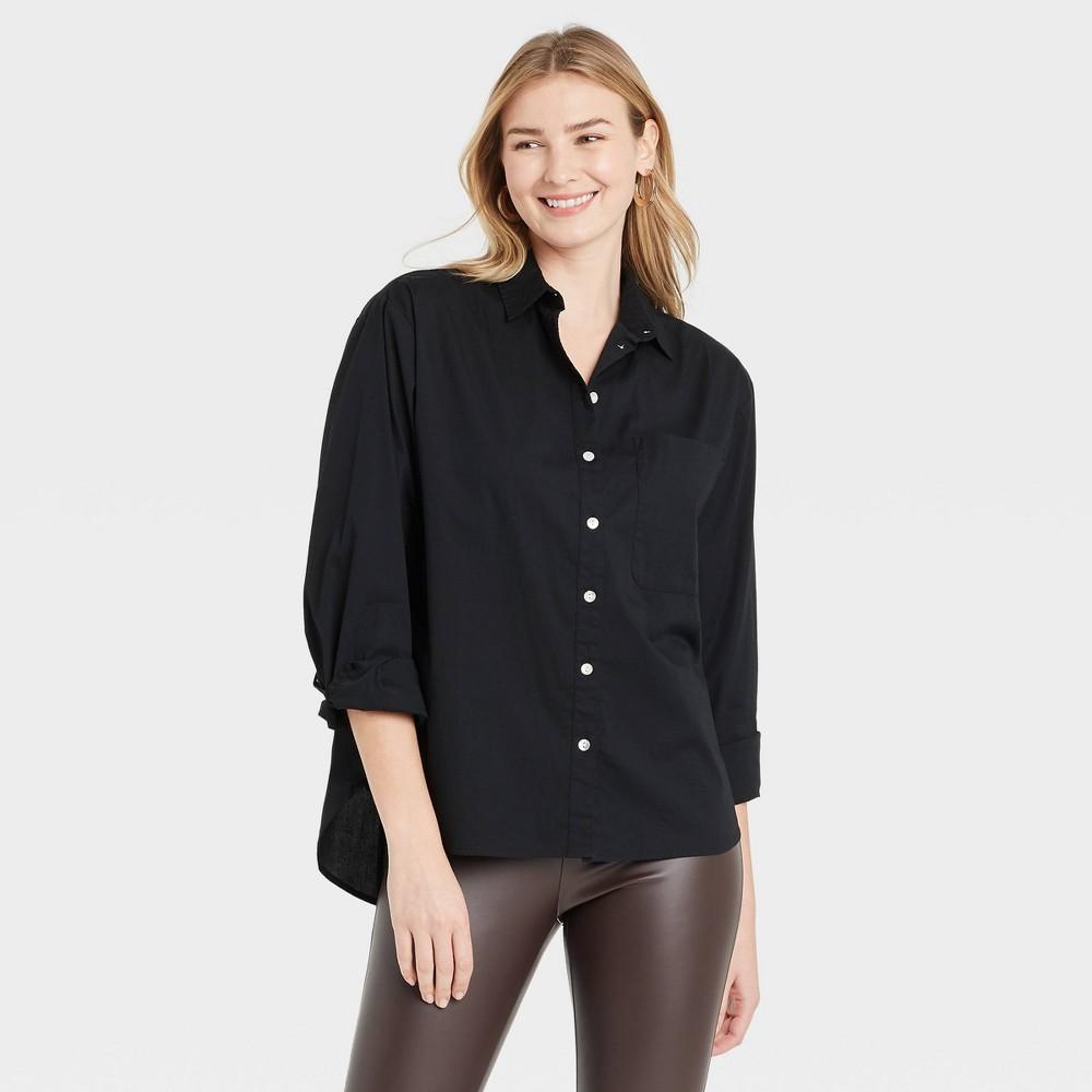 Women 39 S Long Sleeve Button Down Boyfriend Shirt A New Day 8482 Black Xs