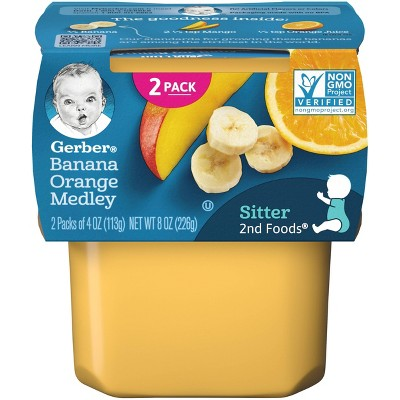 Gerber Sitter 2nd Foods Banana Orange Medley Baby Meals - 2ct/4oz Each