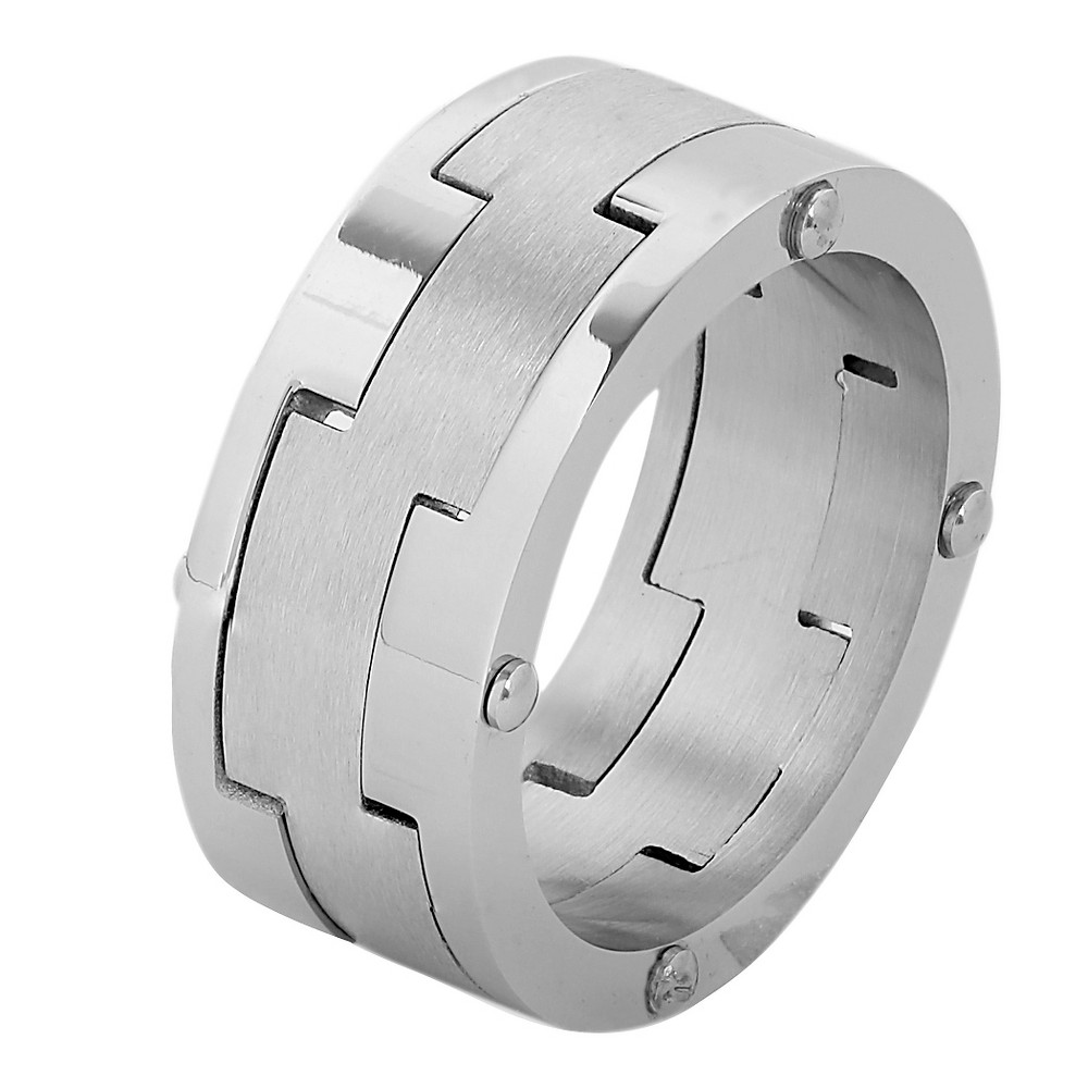 Men's West Coast Jewelry Stainless Steel Brushed Laser Cut Band Ring (10), Silver