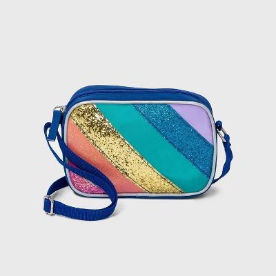 Girls' Glitter Rainbow Striped Crossbody Bag - Cat & Jack™