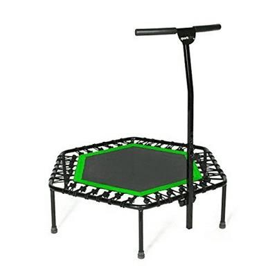 SportPlus Unisex Quiet Miniature Indoor Rebounder Home Fitness Trampoline with Height Adjustable Bar, Green
