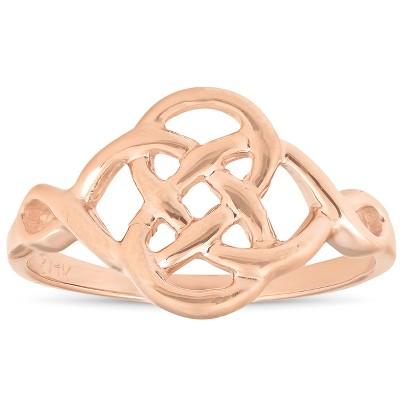 Pompeii3 Solid 14k Rose Gold Celtic Handmade Womens Ring