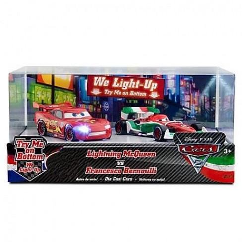 Disney / Pixar Cars Cars 2 Light Up Lightning McQueen vs Francesco Bernoulli Diecast Car Set - image 1 of 3