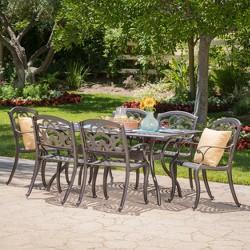 Austin 7pc Cast Aluminum Dining Set - Shiny Copper - Christopher Knight Home