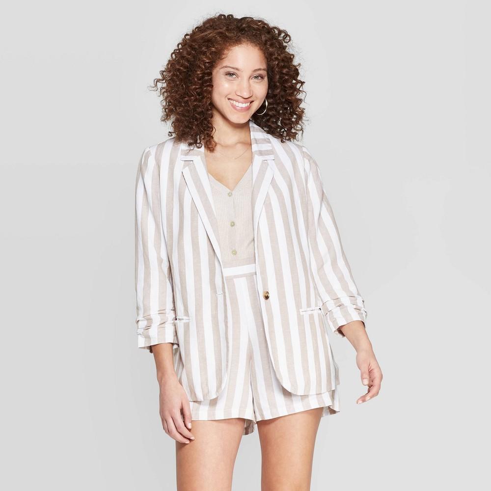 Women's Striped Long Sleeve Linen Blazer - A New Day Cream 6, Beige