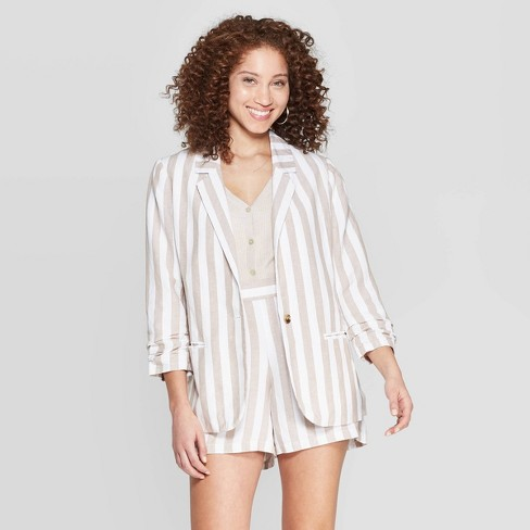 Women's Striped Long Sleeve Linen Blazer - A New Day™ Cream - image 1 of 10