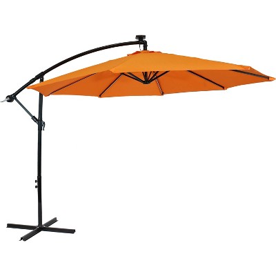 Sunnydaze Outdoor Steel Cantilever Offset Patio Umbrella with Solar LED Lights, Air Vent, Crank, and Base - 9' - Tangerine