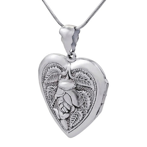 Sterling Silver Heart with Rose Locket Necklace - Silver - image 1 of 3