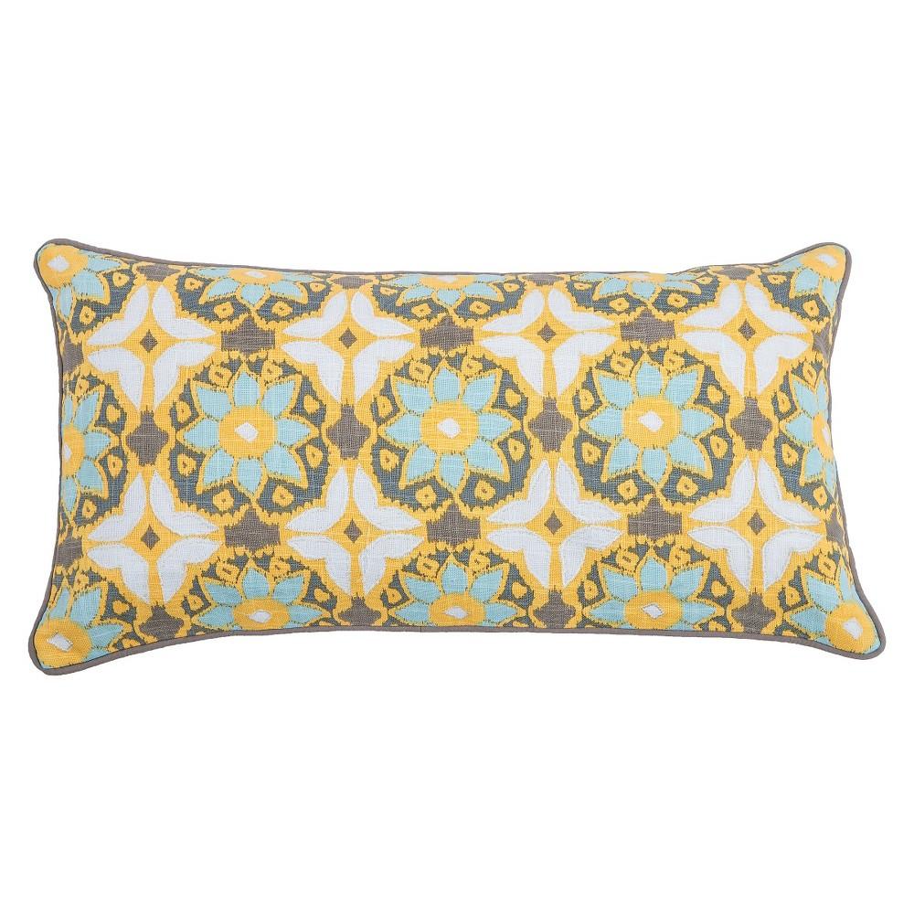 Yellow Laura Fair Throw Pillow (11x21) - Rizzy Home