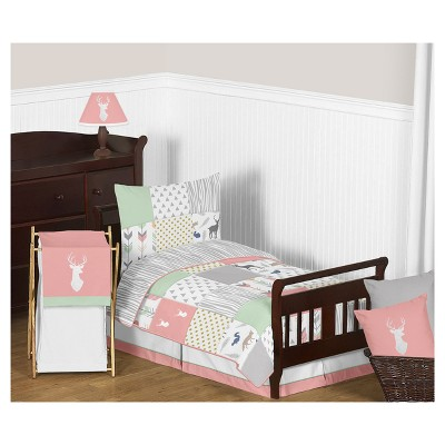 Coral & Mint Woodsy Bedding Set (Toddler) - Sweet Jojo Designs