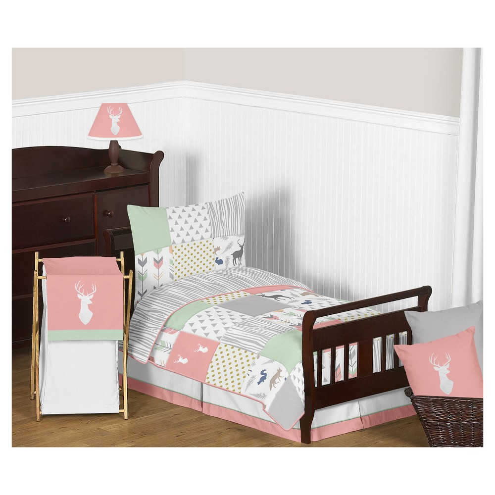 Image of Coral/Mint Woodsy Bedding Set (Toddler) - Sweet Jojo Designs, Pink Gray Blue