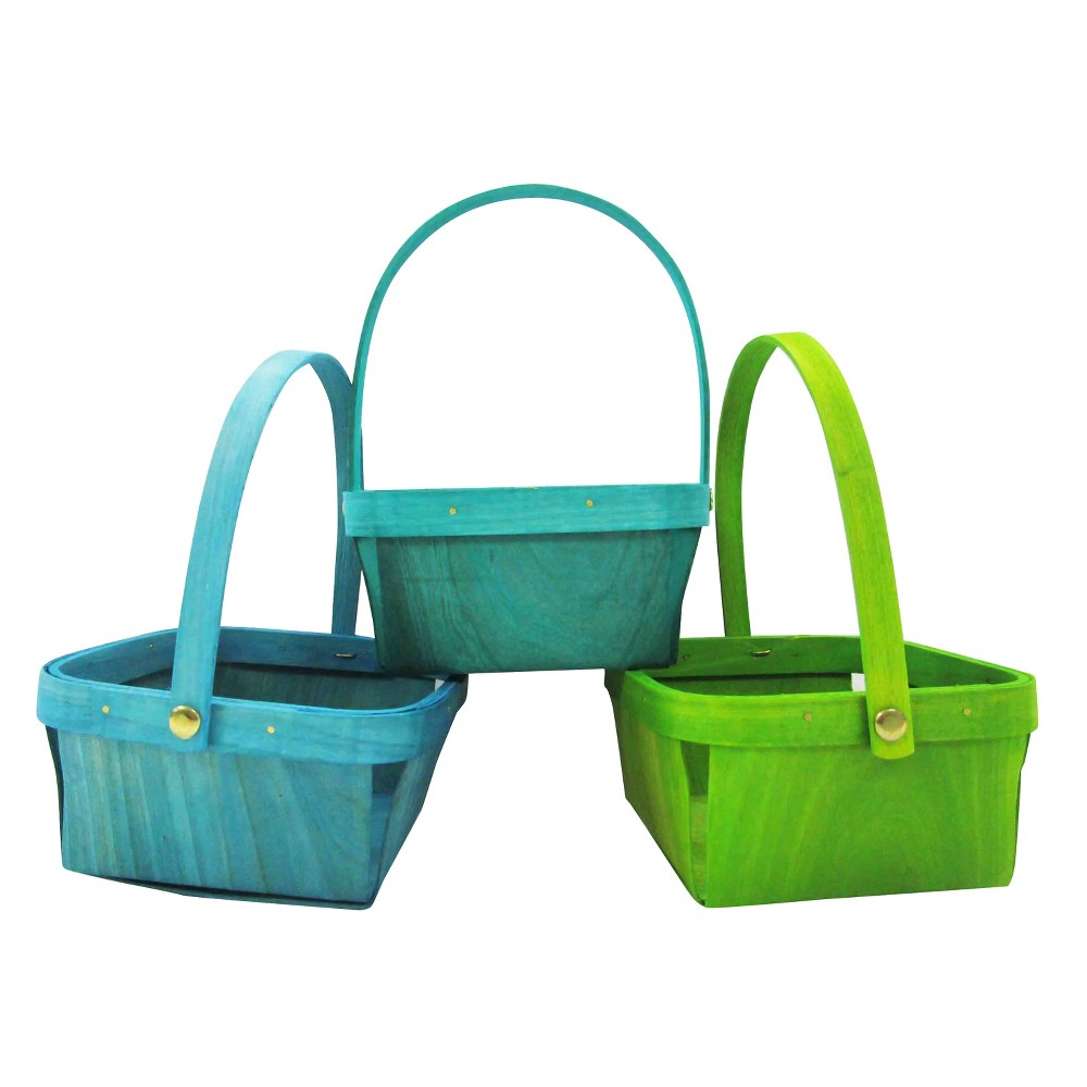 3ct Wooden Solid Color Basket - Spritz, Multi-Colored
