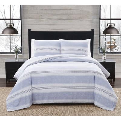 Stripe Flannel Comforter Set Blue/White - London Fog