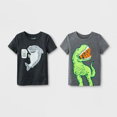 Toddler Boys' 2pk Hungry Animal Short Sleeve T-Shirt - Cat & Jack™ Dark Gray 4T
