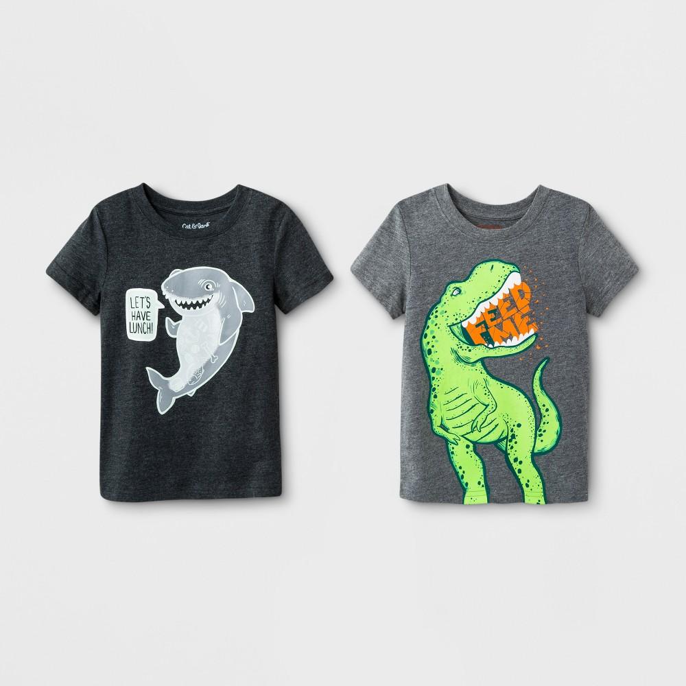 Toddler Boys' 2pk Hungry Animal Short Sleeve T-Shirt - Cat & Jack Dark Gray 18M