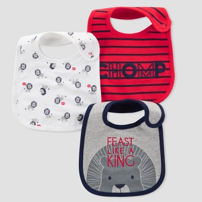 Baby Boys' 3pk Feast Like a King Bibs - Just One You® made by carter's Red/Gray One Size