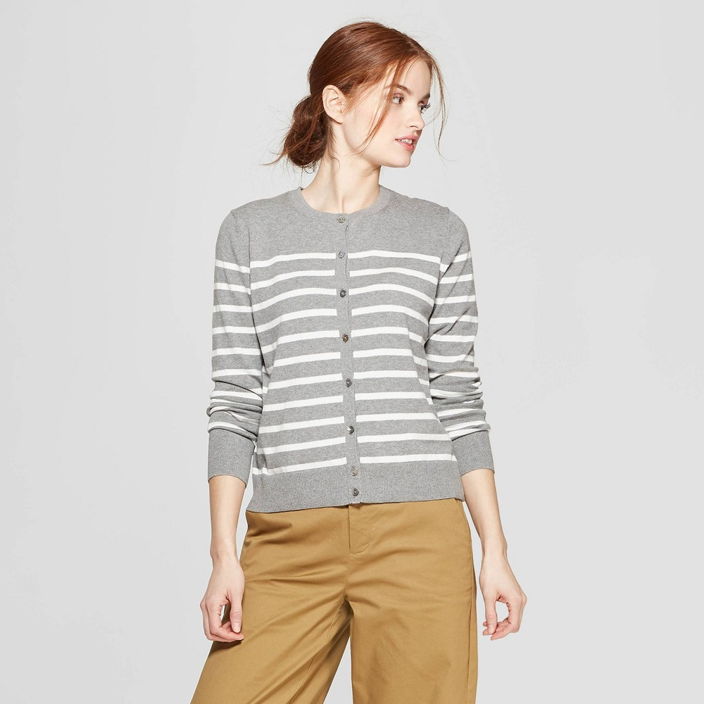 Women's Striped Long Sleeve Crew Neck Cardigan - A New Day Gray/Cream (Gray/Ivory) S
