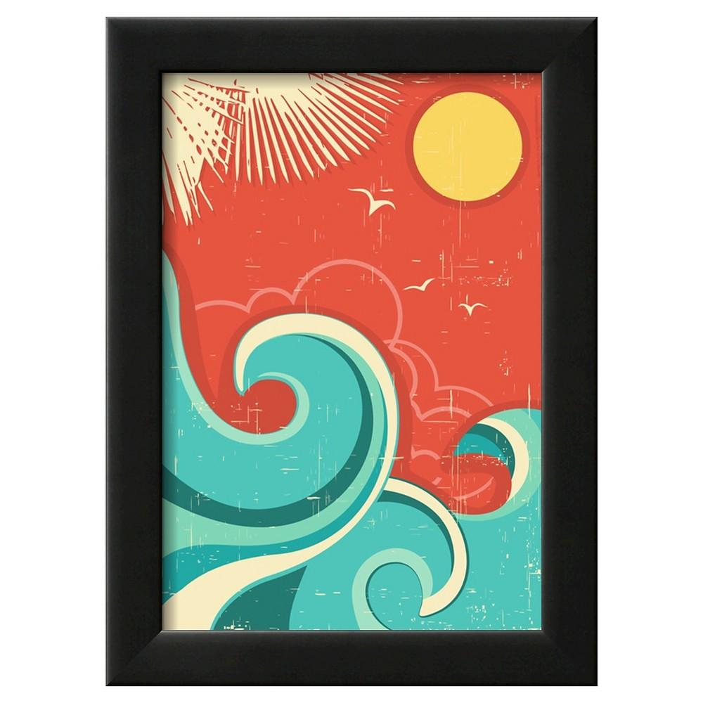 Art.com Vintage Tropical Background With Sea Waves And Sun - Framed Art Print, Black
