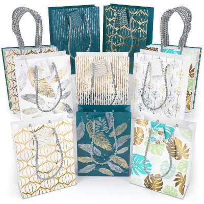 Arteza Gift Bags, Blue, White, Assorted Designs, Set of 16