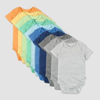 Honest Baby Boys' 10pk Organic Cotton Rainbow Short Sleeve Bodysuit - 12M