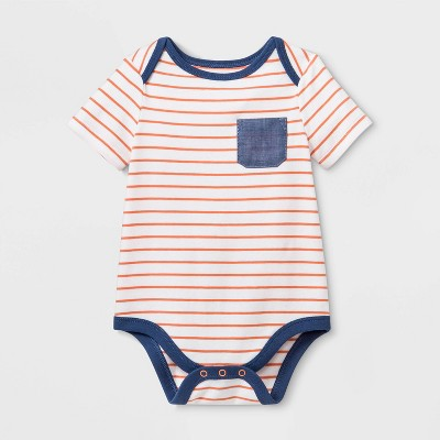Baby Boys' Henley Short Sleeve Pocket Bodysuit - Cat & Jack™ Blue 3-6M