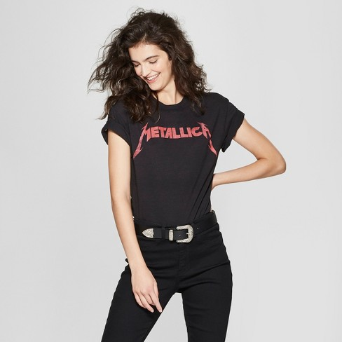 416374485 Women's Metallica Short Sleeve Graphic T-Shirt (Juniors') Black : Target