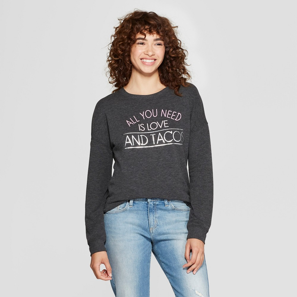 Women's Love and Tacos Graphic Pullover Sweatshirt - Zoe+Liv (Juniors') Charcoal M, Gray